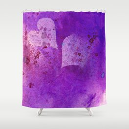 Spatters on my purple hearts Shower Curtain
