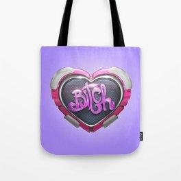 Techno Cyber Heart Bitch Tote Bag