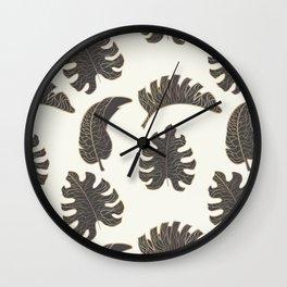 Black and Gold Botanical on Cream 1 Wall Clock