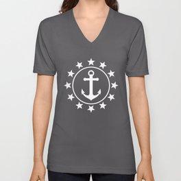 White Anchors & Stars Pattern on Navy Blue Unisex V-Neck
