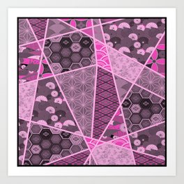 Abstract Artwork Pink Patterns Art Print