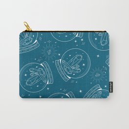 Snow Globe with chrystals in white lines on Teal Carry-All Pouch