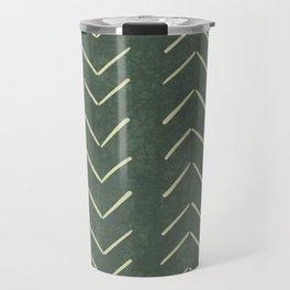 Mudcloth Big Arrows in Leaf Green Travel Mug