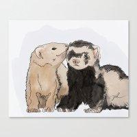ferret Canvas Prints featuring Ferret Kisses by Dannie Ann