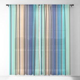 Beach Stripe 5, Variegated Vertical, Black and White Stripes Sheer Curtain