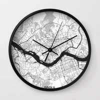 seoul Wall Clocks featuring Seoul Map Gray by City Art Posters