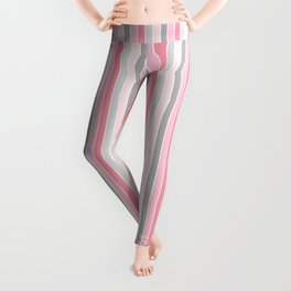 Classic Pink and Gray Stripes Leggings