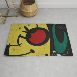 Joan Miro Vol Doiseaux, 1968, Flight of Birds Encircling the 3 Haired Woman on a Moon, Artwork, Prin Rug