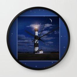 Night at Bodie Island Light Wall Clock