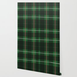 Green, Black and Red Striped Plaid Wallpaper