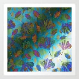 Ginkgo Leaves Under Water Art Print