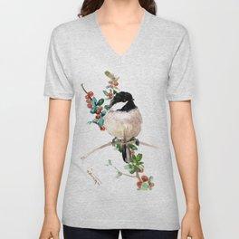 chickadee and berries, chickadee cute bird children nursery room art Unisex V-Neck