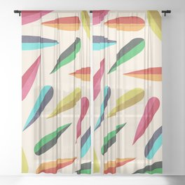 Feathers II Cascading Colors Sheer Curtain