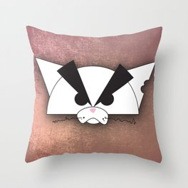 Crabby Cat - white Throw Pillow