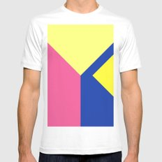 Modern contrast summer blue yellow pink color block Mens Fitted Tee MEDIUM White