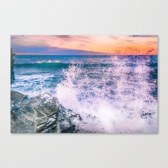 Surf Atlantic Rocky Coast Canvas Print