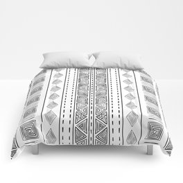 Mud Cloth White and Black Vertical Pattern Comforters