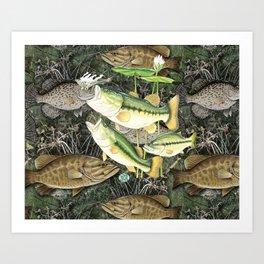 Live for the Catch- Bass Camo Art Print