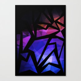 Abstract print of triangles polygon print. Bright dark design colors Canvas Print