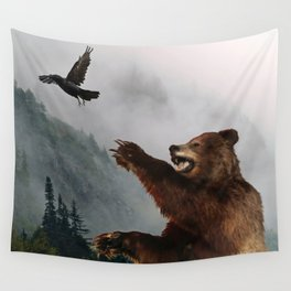The Trickster - Raven & Grizzly Bear Art Print Wall Tapestry