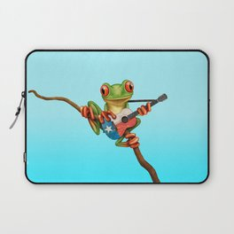 Tree Frog Playing Acoustic Guitar with Flag of Texas Laptop Sleeve