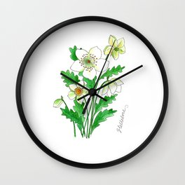 White Hellebore Wall Clock
