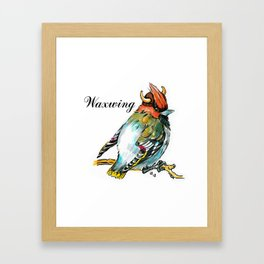Waxwing bird in the viking helmet Framed Art Print