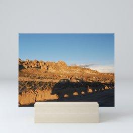 Sunset with shades and lamas Mini Art Print