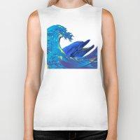 hokusai Biker Tanks featuring Hokusai Rainbow & Dolphin by FACTORIE