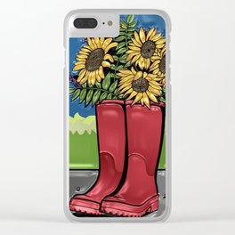 Red Rainboots & Sunflowers Clear iPhone Case