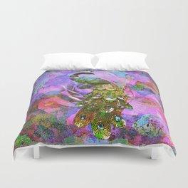Peacock Watercolor Duvet Cover