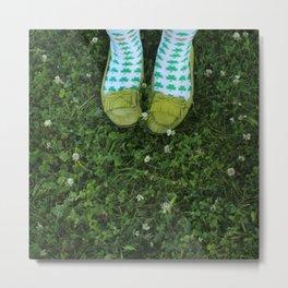 Shamrock Socks in a Green Clover Field Metal Print