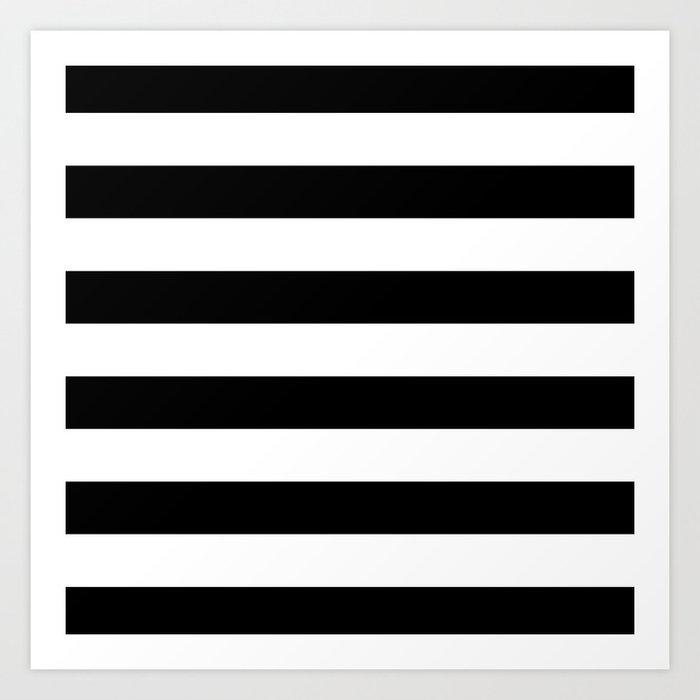 Stripe Black And White Horizontal Line Bold Minimalism Stripes Lines Kunstdrucke