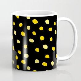 Itsy Bitsy Teeny Weeny Yellow Polka Dots on Black Coffee Mug