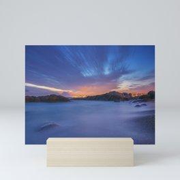 Sunset at the beach Mini Art Print