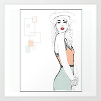model Art Prints featuring MODEL by Panxy_Art