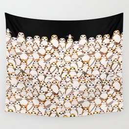 Galatic Penguins on Black Wall Tapestry