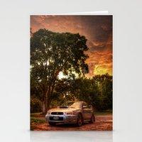 subaru Stationery Cards featuring Subaru Impreza WRX STi Sunset by Kozicki Photography