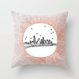 Houston, Texas City Skyline Illustration Drawing Throw Pillow
