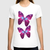 hot pink T-shirts featuring The hot pink Butterfly by thea walstra