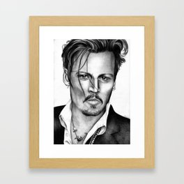 Johnny Depp Ballpoint Pen Drawing Framed Art Print