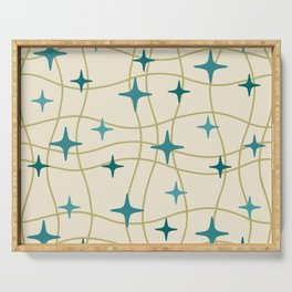 Mid Century Modern Cosmic Star Pattern 693 Cream Turquoise Olive Serving Tray