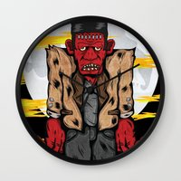 frankenstein Wall Clocks featuring Frankenstein by Pancho the Macho
