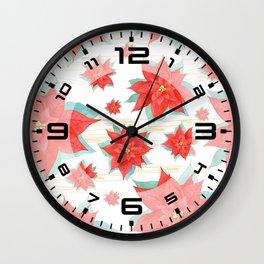 Red poinsettia #2 Wall Clock