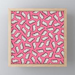 Reading Books pattern in Pink Framed Mini Art Print