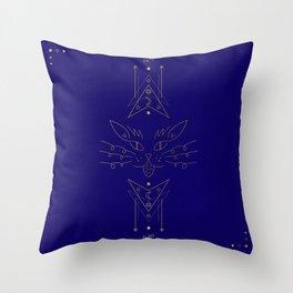 Navy Blue Gold Cat Line Art Throw Pillow