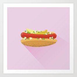 Flat Vector Chicago Dog Art Print