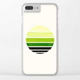Sap Green Minimalist Mid Century Modern Watercolor Stripes Sunset Circle Abstract Pattern Clear iPhone Case