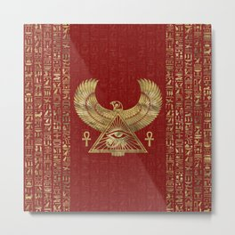Eye of Horus - Wadjet Gold on Red Leather Metal Print