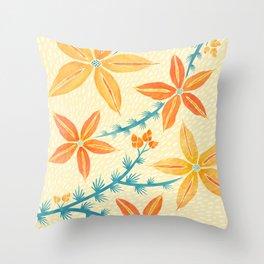 Vintage Hawaiian Print Throw Pillow
